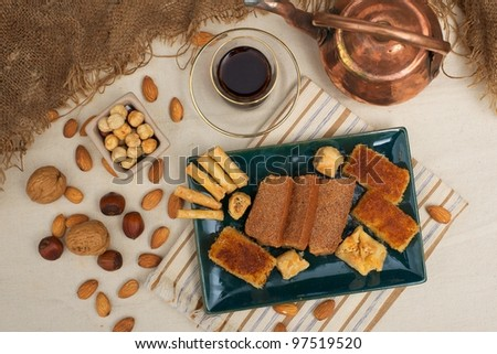 Mint Tea, with assorted Egyptian dessert - stock photo