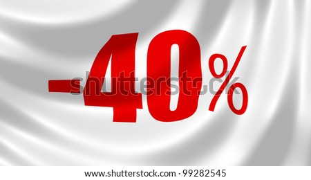 Minus 40% discount sign on a white waving flag
