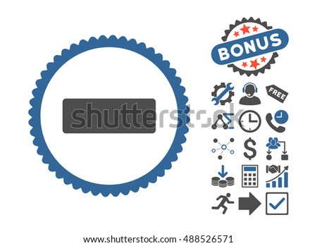 Minus icon with bonus pictograph collection. Glyph illustration style is flat iconic bicolor symbols, cobalt and gray colors, white background.