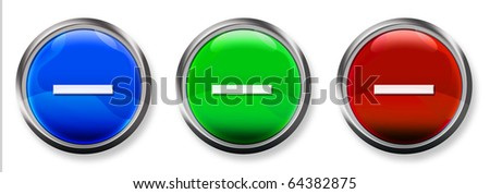 Minus Sign 3-D RGB Buttons - stock photo