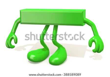 minus symbol with arms and legs posing, isolated on white 3d illustration - stock photo