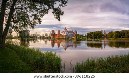 """Mir, Belarus : the castle complex """"Mir"""" is a historical and cultural monument of national importance and a world heritage site by UNESCO  in Mir, Belarus. - stock photo"""