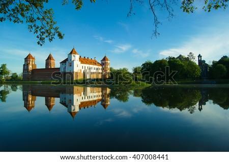 Mir Castle in Minsk region - historical heritage of Belarus. UNESCO World Heritage - stock photo