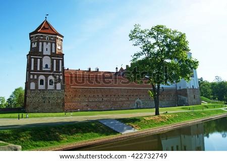 Mir Castle in Minsk region - historical heritage of Belarus. UNESCO World Heritage. Traveling on Belarus  - stock photo