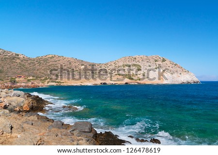 Mirabello Bay view with Spinalonga island on Crete, Greece