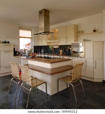 Miracle beautiful modern kitchen - stock photo