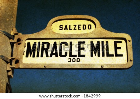 Miracle Mile street sign in Coral Gables (Miami) Florida