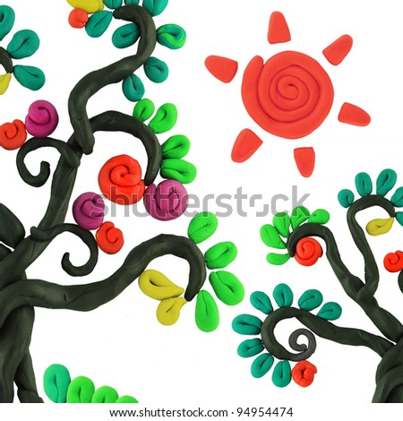 miracle story isolated plasticine trees - stock photo