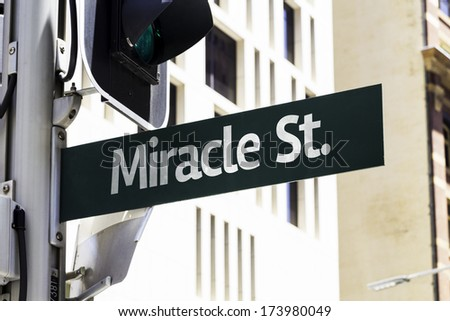 Miracle Street Creative Sign - stock photo