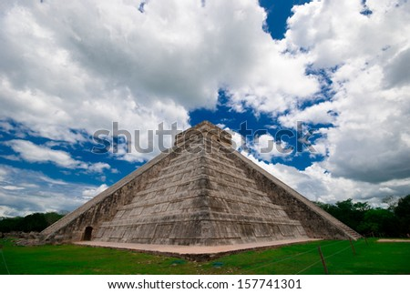 Miraculously sky above Mayan pyramid in Mexico - stock photo