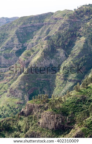mirador de tajaque, view into the valley, gomera island, canary island, spain. Gomera is one of the most attractive canary islands, depending to spain.