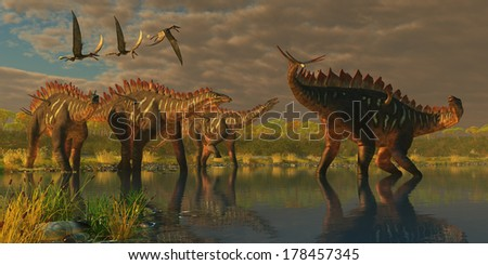 Miragaia Dinosaurs - A Miragaia dinosaur bellows in protest as three others try to join him in marsh as three Dorygnathus pterosaurs fly over.