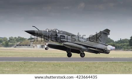 Mirage 2000 jet fighter bomber in flight - stock photo