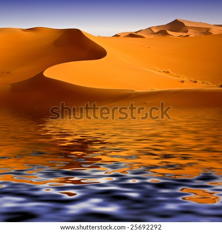 Mirage of the water in the Moroccan desert. Background image - stock photo