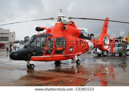 MIRAMAR, CALIFORNIA, USA - OCTOBER 15: USCG Eurocopter AS-365N Dauphin Resque helicopter on display at Miramar Air Show October 15, 2006 in Miramar, California, USA. - stock photo