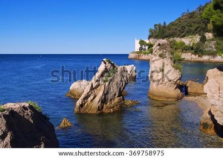 Miramare beach near Trieste, Italy - stock photo