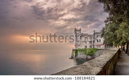 Miramare Castle at sunset, Trieste, Italy - Landscape - stock photo