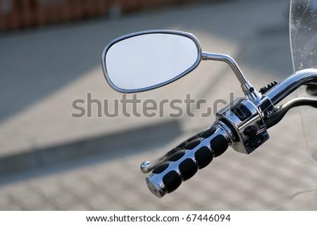 mirro of silver motorbike - stock photo