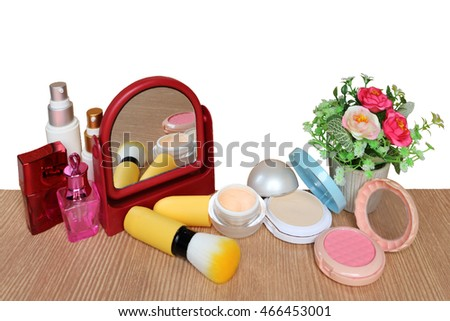 mirror and cosmetic tool ,isolate white background with clipping path