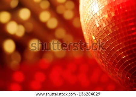 mirror ball lights disco background - stock photo