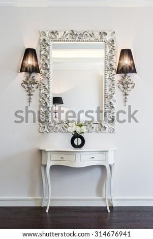 mirror in home interior - stock photo