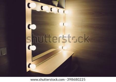 mirror in makeup room at photo studio - stock photo