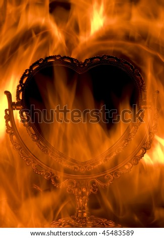Mirror in the form of heart, is burning on fire
