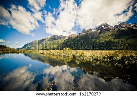 Mirror Lake in Fiordland New Zealand
