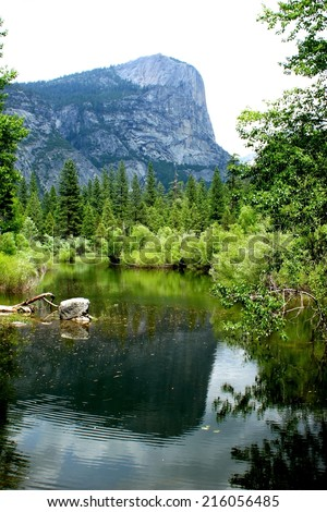Mirror lake is attraction in Yosemite National Park California - stock photo