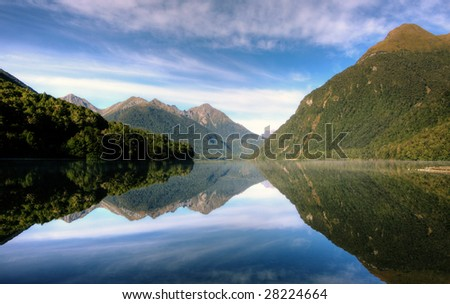 Mirror Lakes at Milford Sound on a clear day