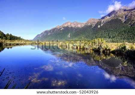 Mirror Lakes, Milford Sound - stock photo