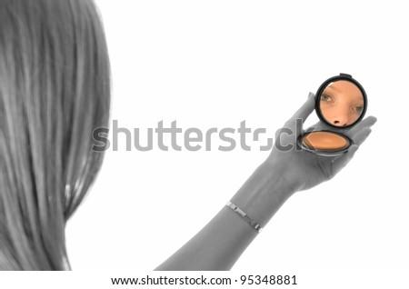 mirror make-up - stock photo