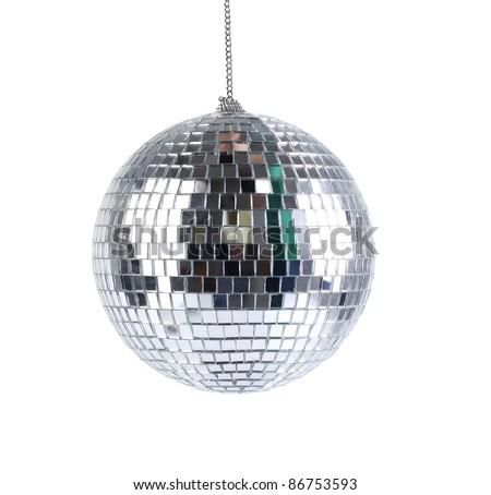 mirror sphere isolated - stock photo