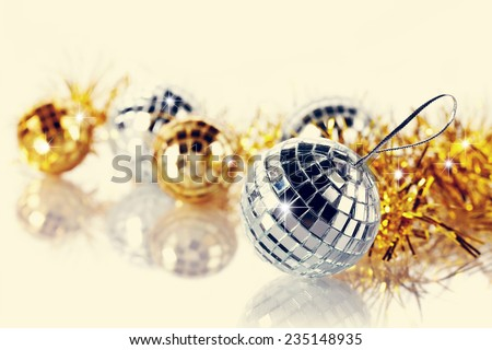 Mirror spheres. New Year's balls. Christmas tree decorations. Christmas jewelry. - stock photo