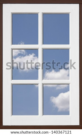 Mirror window reflecting blue sky with cloud - stock photo