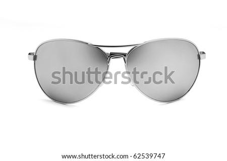 Mirrored aviator sunglasses isolated on white - stock photo