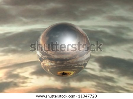 Mirrored sphere on sky background - stock photo