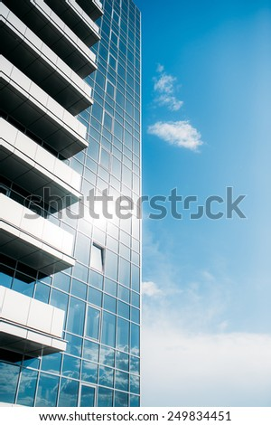 Mirrored windows on the building - stock photo