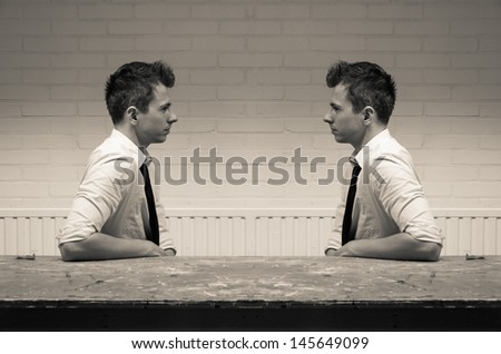 mirroring in communication - stock photo