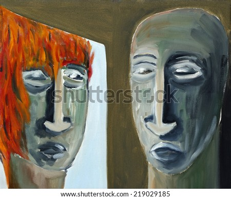 Mirroring - oil on canvas