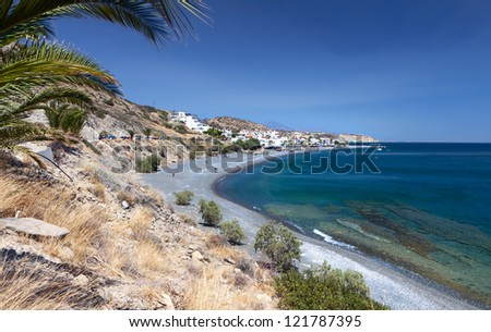 Mirtos bay and beach at Crete island in Greece, near Ierapetra city - stock photo