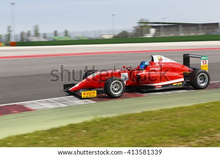Misano Adriatico, Italy - April 10, 2016: A Tatuus F4 T014 Abarth of Lechner Racing Gmbh Team, driven by Brandt Yannik Christopher,  the Italian F4 Championship Powered by Abarth in Misano Circuit