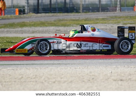 Misano Adriatico, Italy - April 10, 2016: A Tatuus F4 T014 Abarth of Prema Power Team team, driven by Schumacher Mick,  the Italian F4 Championship Powered by Abarth in Misano World Circuit, in Italy.