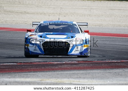 Misano Adriatico, Italy - April 10, 2016: Audi R8 LMS of Phoenix Racing Team, driven by Niki Mayr-Melnhof and Markus Winkelhock,  the Blancpain GT Series Sprint Cup in Misano World Circuit.