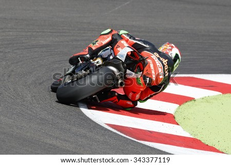 Misano Adriatico, Italy - June 21, 2015: Ducati Panigale R of Aruba.it Racing-Ducati SBK Team, driven by GIUGLIANO Davide in action during the Superbike Race 1 on June 21, 2015 in San Marino.