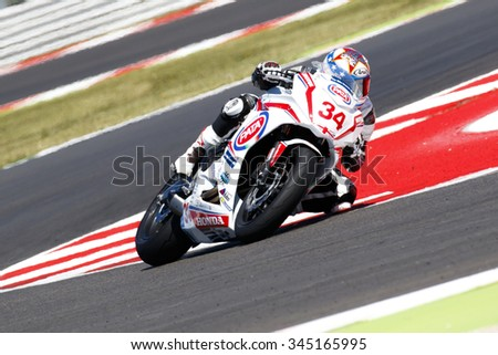 Misano Adriatico, Italy - June 21: Honda CBR 650F of Drayton Racing Team, driven by DRAYTON Dan in action during the European Junior Race  on June 21, 2015 in Misano Adriatico, Italy.