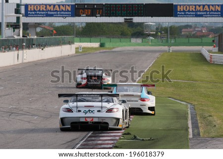 MISANO ADRIATICO, Rimini, ITALY - May 10:  A MERCEDES SLM AGM GT3 of Sport and You team, driven By MORA Francisco (POR),  the , C.I. Gran Turismo car racing on May 10, 2014