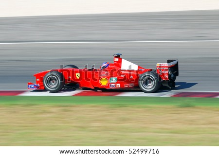 MISANO, IT,  JULY 12:unknown run with ferrari F1 into the misano world circuit center  july 12, 2008 in Misano, italy