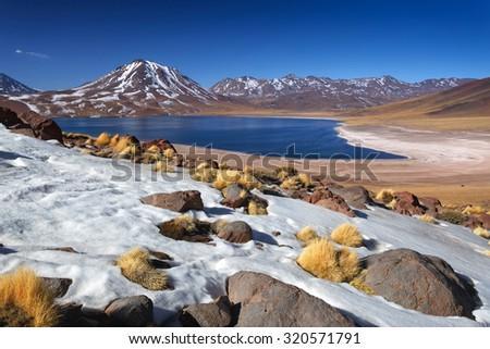 Miscanti lagoon, Atacama desert, Chile - stock photo