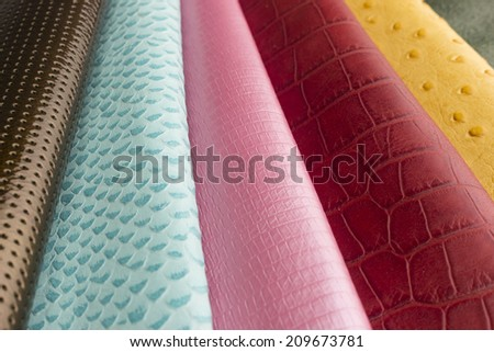 miscellaneous leather swatches - stock photo